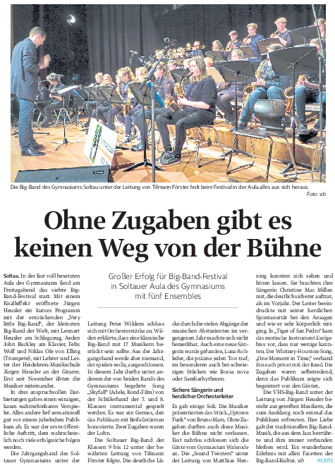 Großer Erfolg Für Big Band Festival Gymnasium Soltau