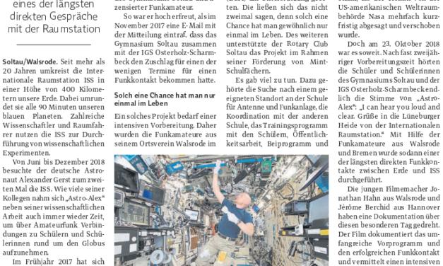 Film über Funkkontakt zur ISS
