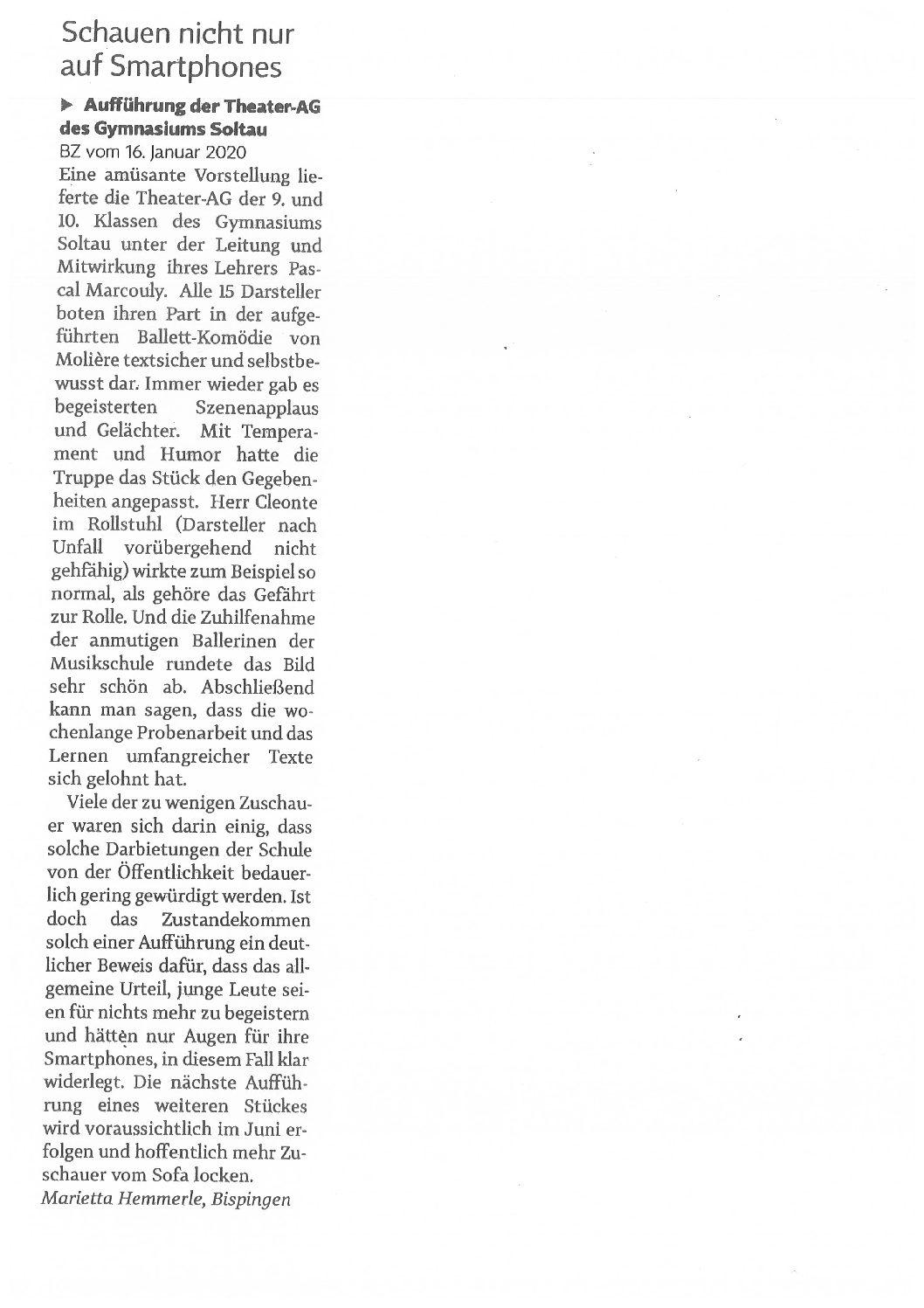 Pressebericht vom 02.03.2020 – Böhme-Zeitung